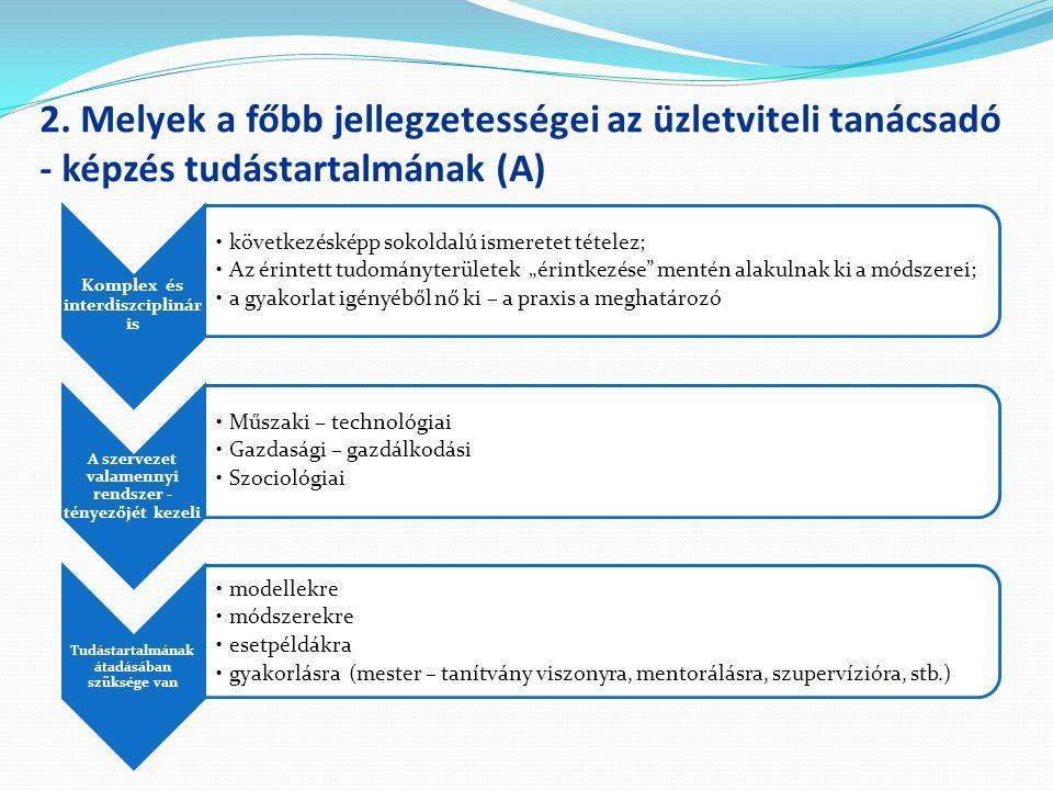 2. Melyek a főbb jellegzetességei az üzletviteli tanácsadó - képzés tudástartalmának (A) Komplex és interdiszciplinár is következésképp sokoldalú isme