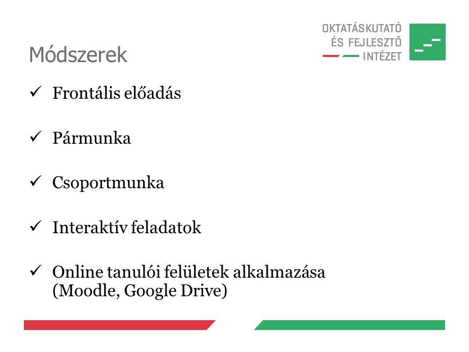 Módszerek Frontális előadás Pármunka Csoportmunka Interaktív feladatok Online tanulói felületek alkalmazása (Moodle, Google Drive)