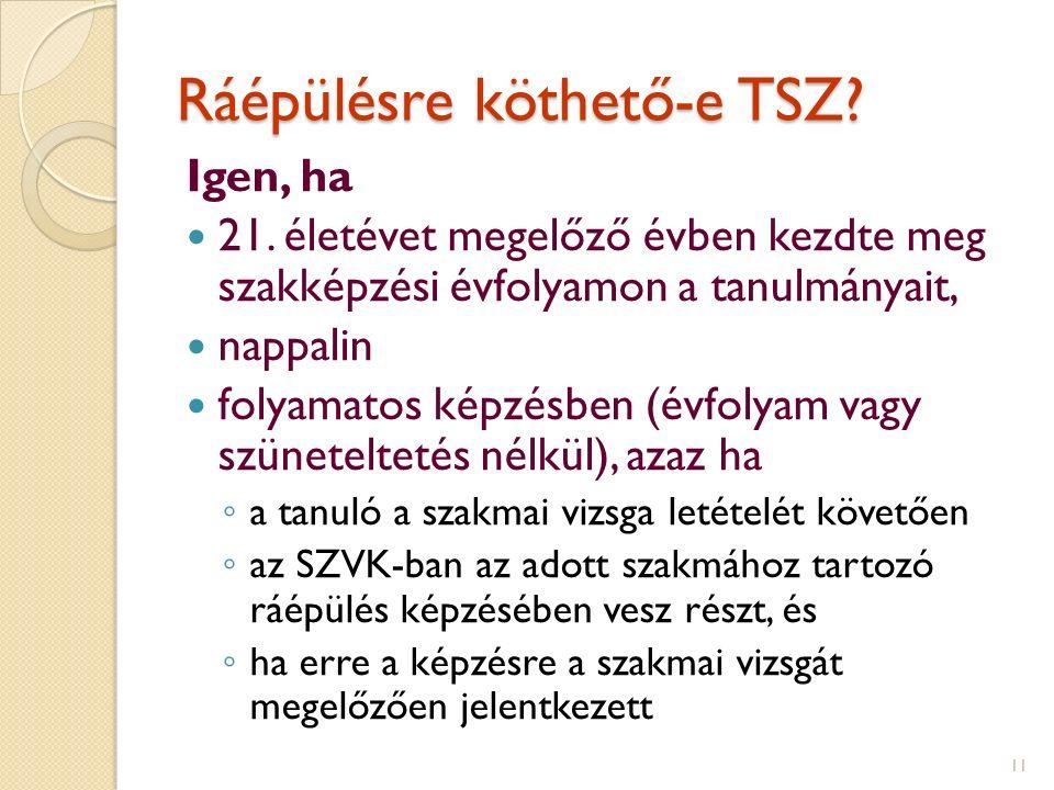 Ráépülésre köthető-e TSZ. Igen, ha 21.