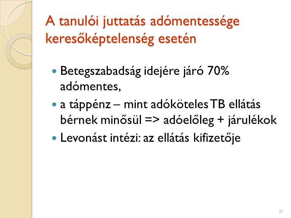 A tanulói juttatás adómentessége keresőképtelenség esetén Betegszabadság idejére járó 70% adómentes, a táppénz – mint adóköteles TB ellátás bérnek minősül => adóelőleg + járulékok Levonást intézi: az ellátás kifizetője 21