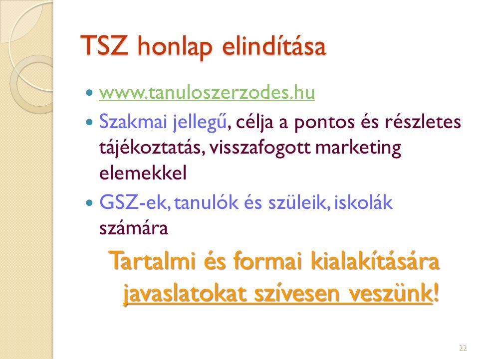 TSZ honlap elindítása www.tanuloszerzodes.hu Szakmai jellegű, célja a pontos és részletes tájékoztatás, visszafogott marketing elemekkel GSZ-ek, tanulók és szüleik, iskolák számára Tartalmi és formai kialakítására javaslatokat szívesen veszünk.
