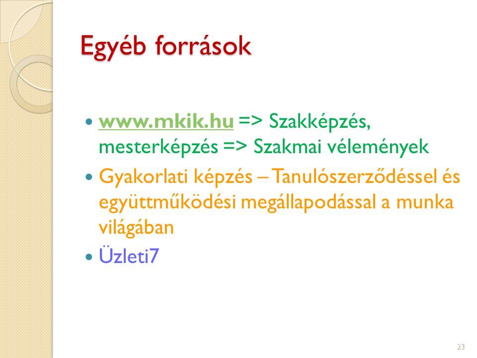 Egyéb források www.mkik.hu => Szakképzés, mesterképzés => Szakmai vélemények www.mkik.hu Gyakorlati képzés – Tanulószerződéssel és együttműködési megállapodással a munka világában Üzleti7 23