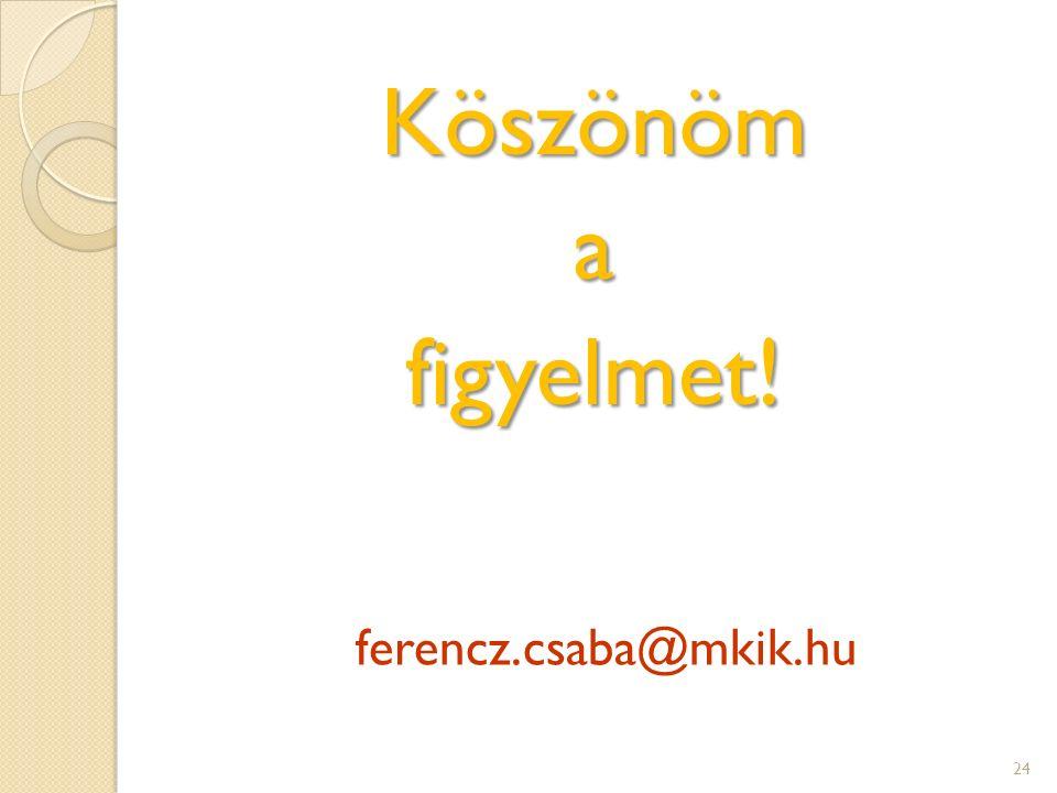 Köszönömafigyelmet! ferencz.csaba@mkik.hu 24
