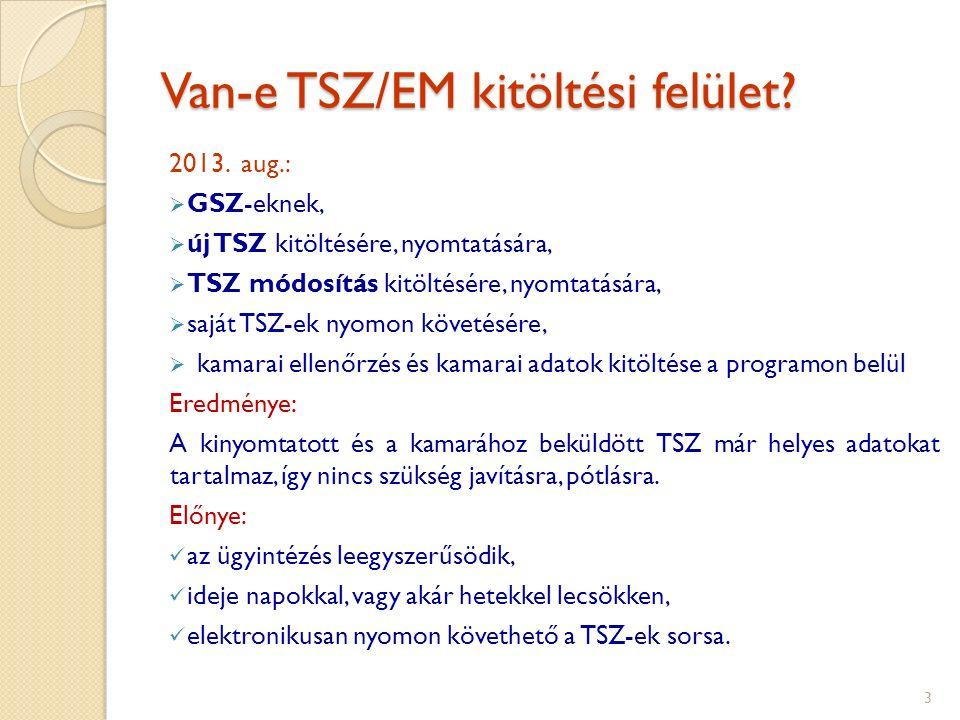 Van-e TSZ/EM kitöltési felület. 2013.