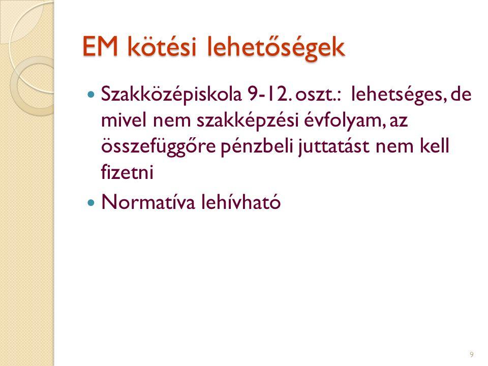 EM kötési lehetőségek Szakközépiskola 9-12.