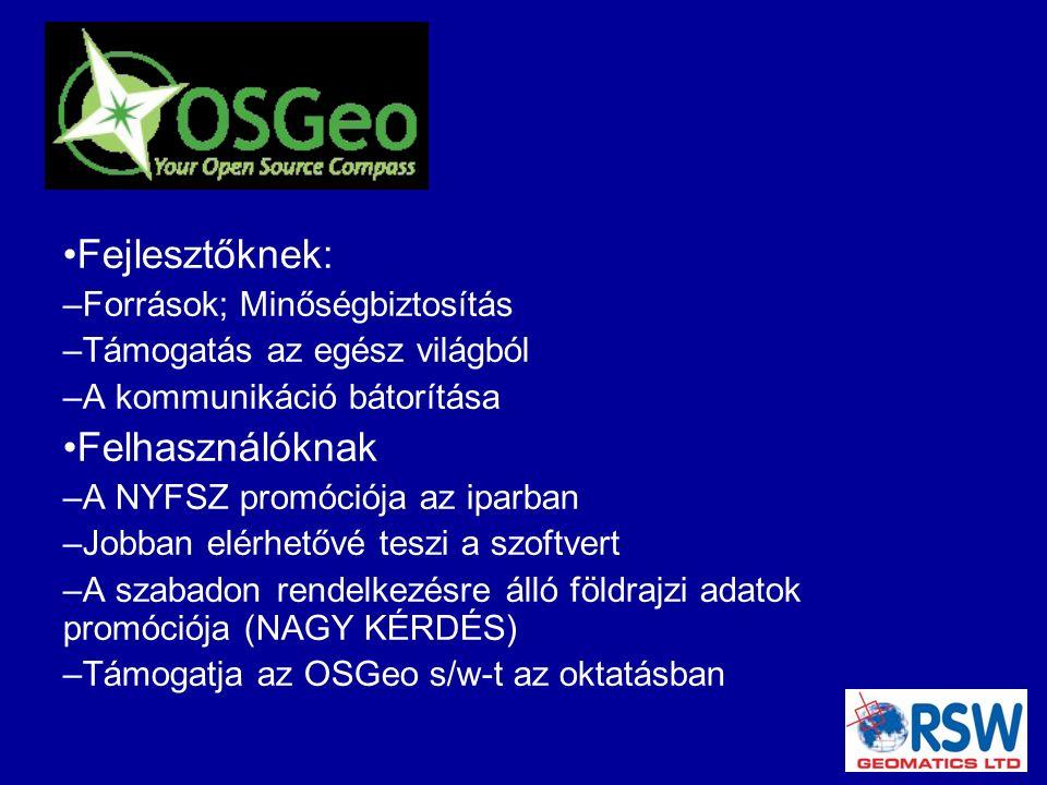 Fejlesztőknek: – Források; Minőségbiztosítás – Támogatás az egész világból – A kommunikáció bátorítása Felhasználóknak – A NYFSZ promóciója az iparban – Jobban elérhetővé teszi a szoftvert – A szabadon rendelkezésre álló földrajzi adatok promóciója (NAGY KÉRDÉS) – Támogatja az OSGeo s/w-t az oktatásban