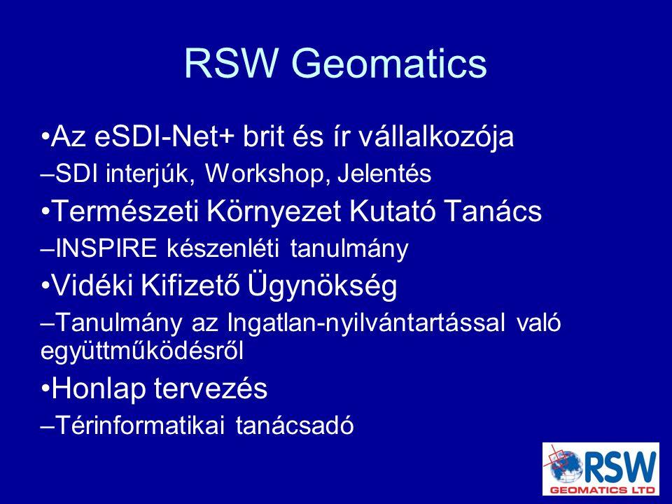 RSW Geomatics Az eSDI-Net+ brit és ír vállalkozója – SDI interjúk, Workshop, Jelentés Természeti Környezet Kutató Tanács – INSPIRE készenléti tanulmány Vidéki Kifizető Ügynökség – Tanulmány az Ingatlan-nyilvántartással való együttműködésről Honlap tervezés – Térinformatikai tanácsadó