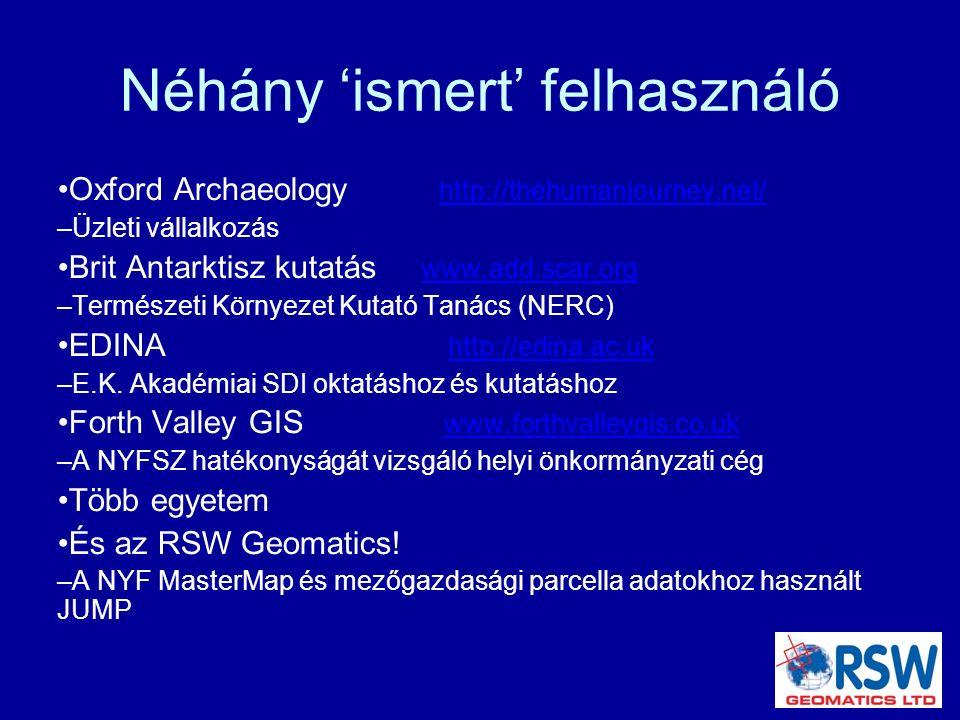 Néhány 'ismert' felhasználó Oxford Archaeology http://thehumanjourney.net/ http://thehumanjourney.net/ – Üzleti vállalkozás Brit Antarktisz kutatás www.add.scar.org www.add.scar.org – Természeti Környezet Kutató Tanács (NERC) EDINA http://edina.ac.uk http://edina.ac.uk – E.K.