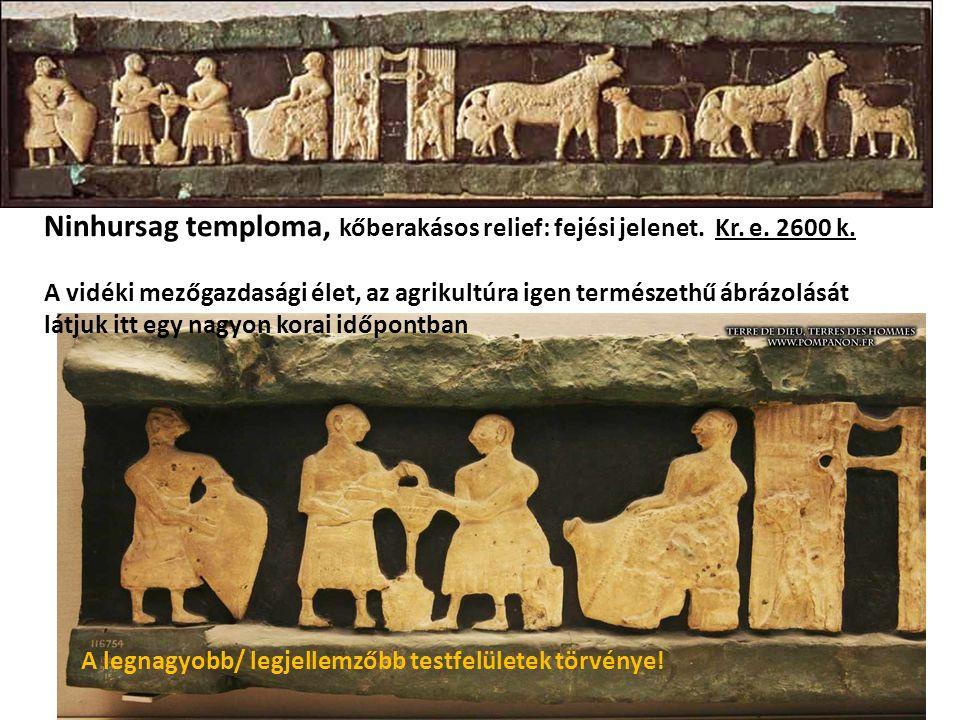 Ninhursag temploma, kőberakásos relief: fejési jelenet.