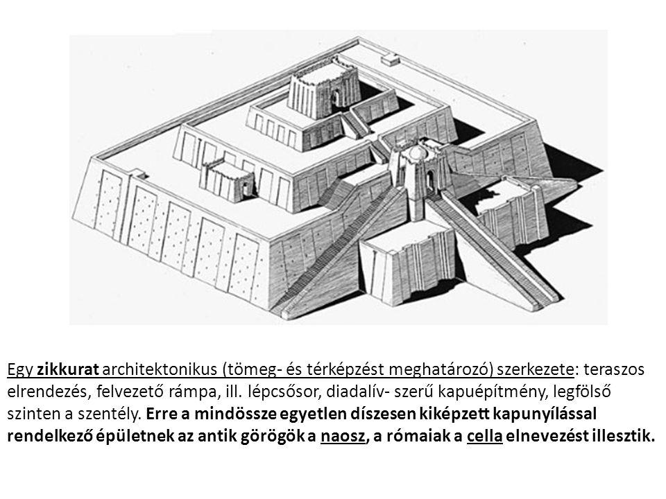 Egy zikkurat architektonikus (tömeg- és térképzést meghatározó) szerkezete: teraszos elrendezés, felvezető rámpa, ill.