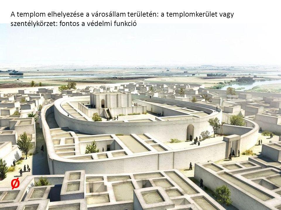 A templom elhelyezése a városállam területén: a templomkerület vagy szentélykörzet: fontos a védelmi funkció Ø