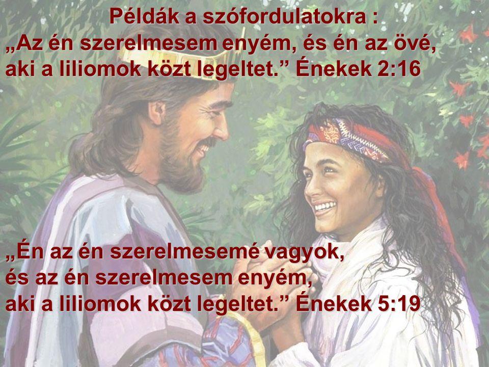 """Példák a szófordulatokra : Példák a szófordulatokra : """"Az én szerelmesem enyém, és én az övé, aki a liliomok közt legeltet. Énekek 2:16 """"Én az én szerelmesemé vagyok, és az én szerelmesem enyém, aki a liliomok közt legeltet. Énekek 5:19"""