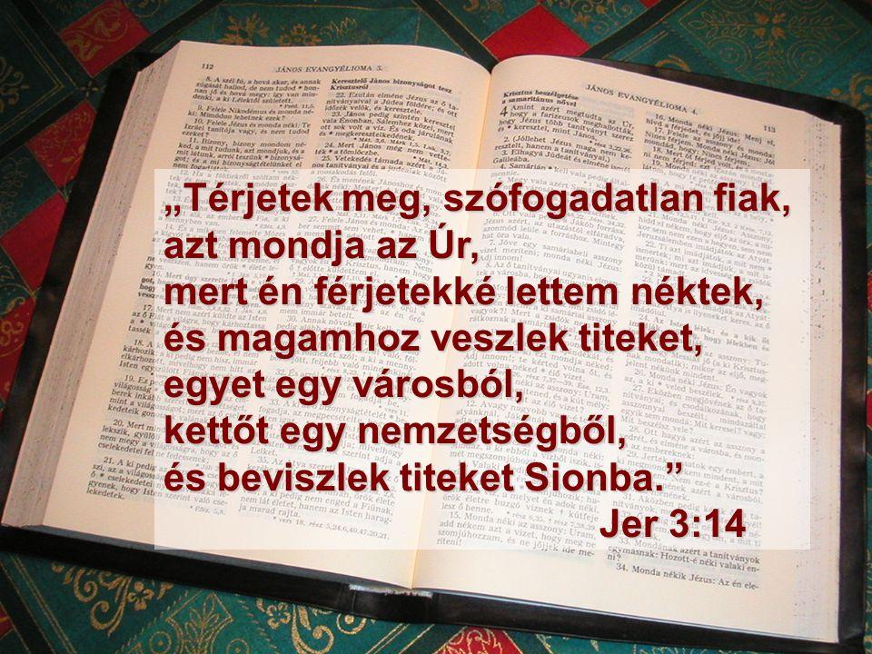 """""""Térjetek meg, szófogadatlan fiak, azt mondja az Úr, mert én férjetekké lettem néktek, és magamhoz veszlek titeket, egyet egy városból, kettőt egy nemzetségből, és beviszlek titeket Sionba. Jer 3:14"""