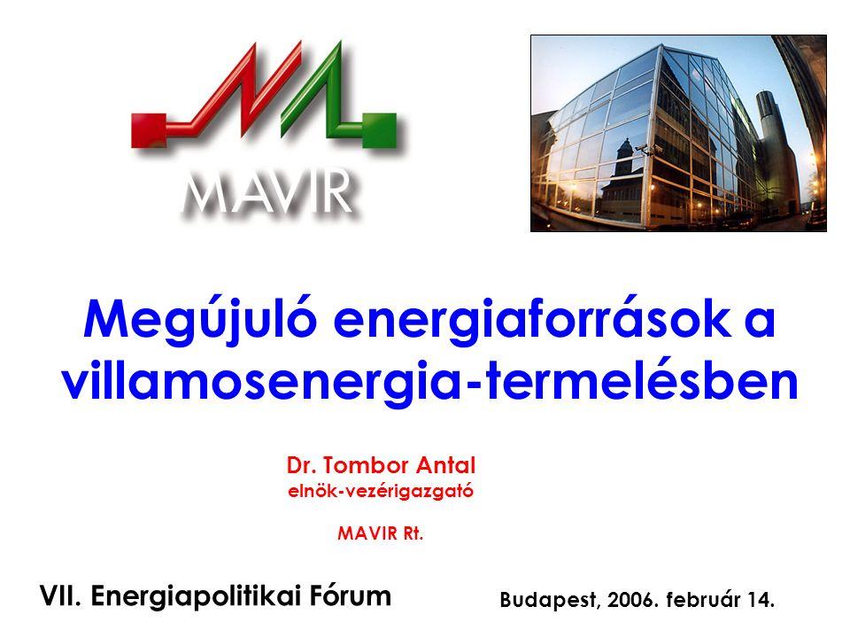 1 Megújuló energiaforrások a villamosenergia-termelésben Dr.
