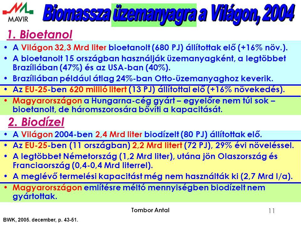 Tombor Antal 11 A Világon 32,3 Mrd liter bioetanolt (680 PJ) állítottak elő (+16% növ.).