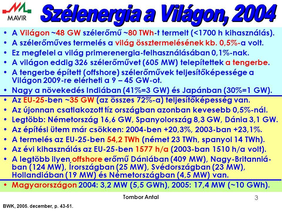 Tombor Antal 3 A Világon ~48 GW szélerőmű ~80 TWh-t termelt (<1700 h kihasználás).