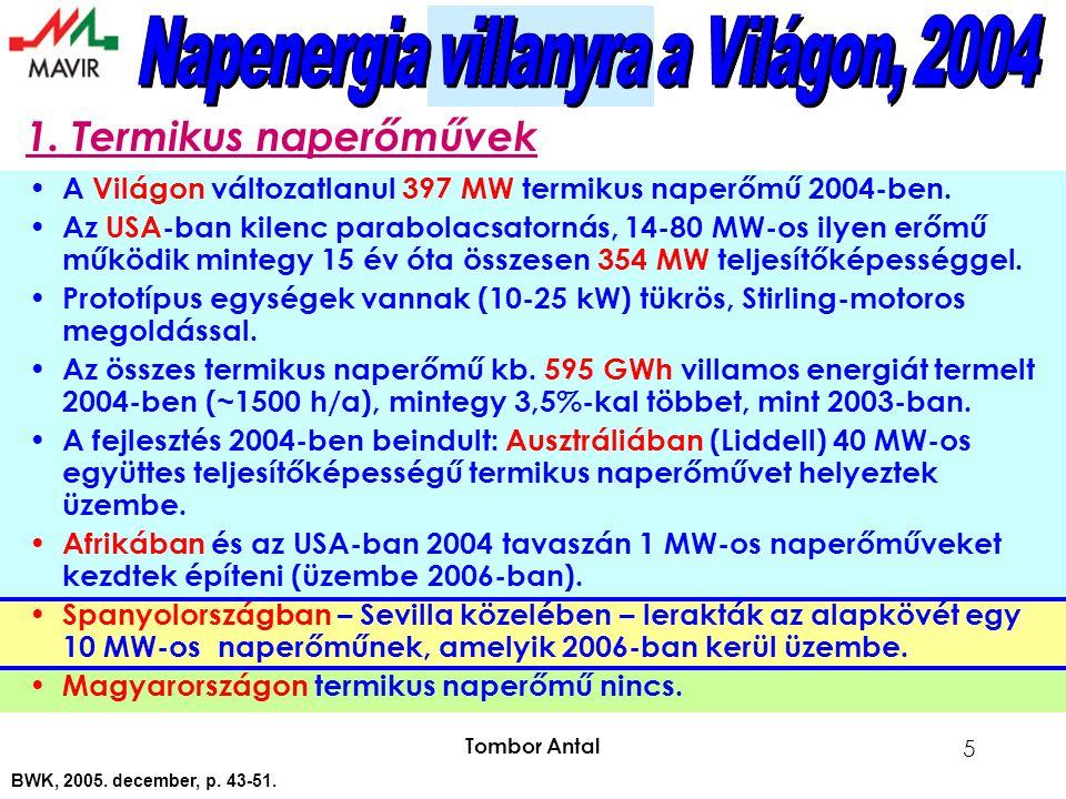 Tombor Antal 5 A Világon változatlanul 397 MW termikus naperőmű 2004-ben.
