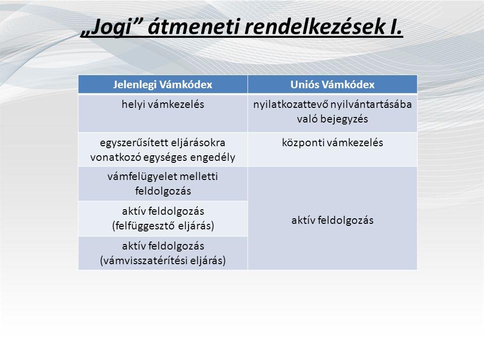 """""""Jogi"""" átmeneti rendelkezések I. Jelenlegi VámkódexUniós Vámkódex helyi vámkezelésnyilatkozattevő nyilvántartásába való bejegyzés egyszerűsített eljár"""