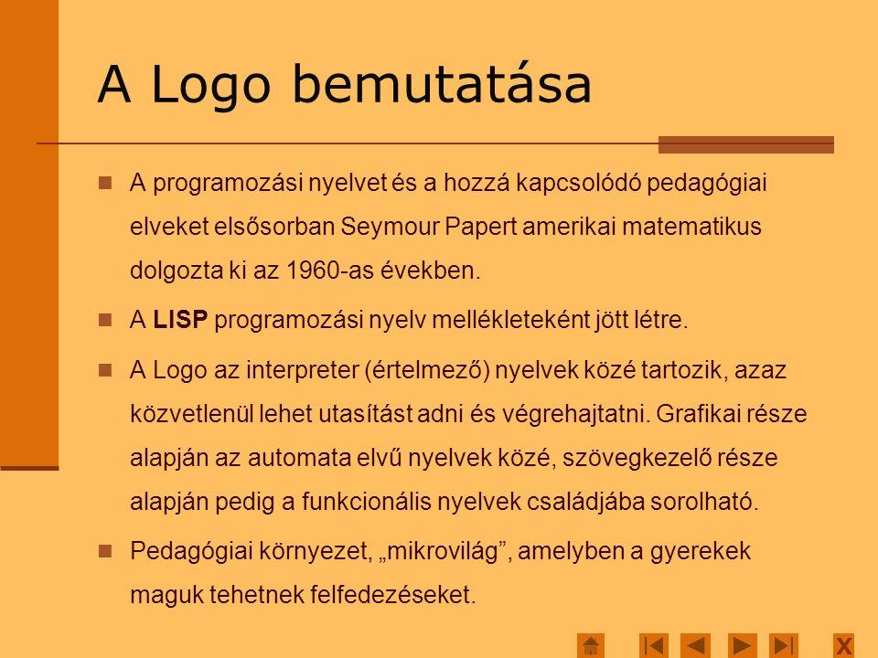X A Logo bemutatása A programozási nyelvet és a hozzá kapcsolódó pedagógiai elveket elsősorban Seymour Papert amerikai matematikus dolgozta ki az 1960-as években.