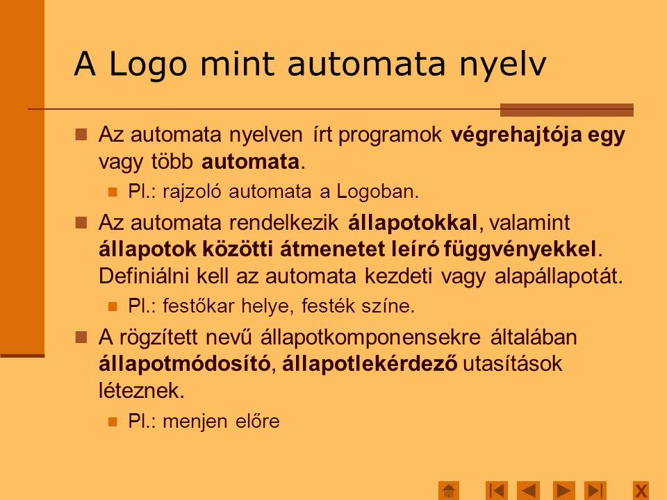 X A Logo mint automata nyelv Az automata nyelven írt programok végrehajtója egy vagy több automata.