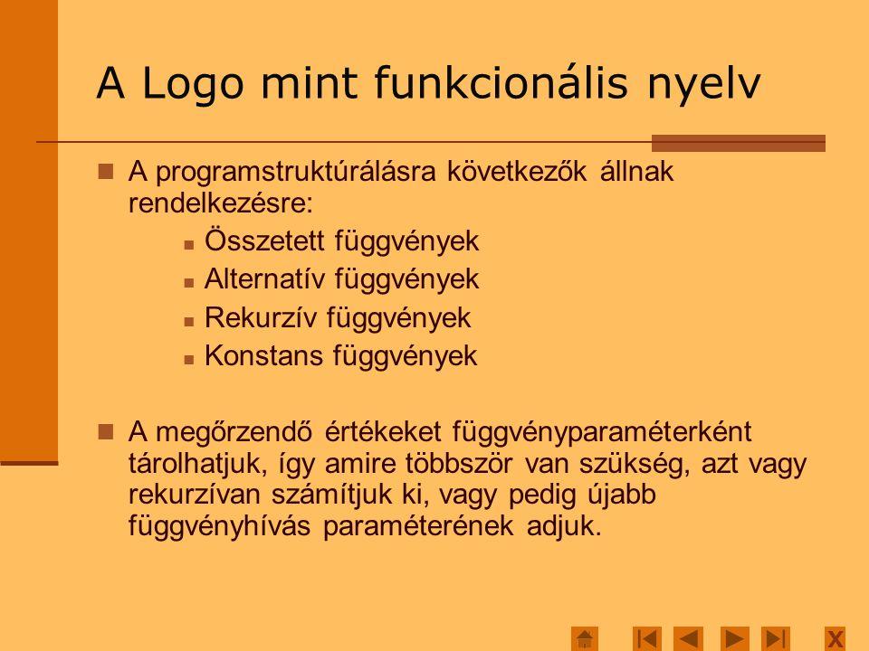 X A Logo mint funkcionális nyelv A programstruktúrálásra következők állnak rendelkezésre: Összetett függvények Alternatív függvények Rekurzív függvény