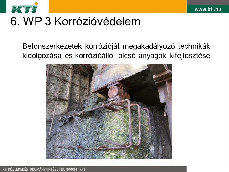 6. WP 3 Korrózióvédelem Betonszerkezetek korrózióját megakadályozó technikák kidolgozása és korrózióálló, olcsó anyagok kifejlesztése