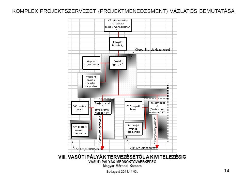 14 KOMPLEX PROJEKTSZERVEZET (PROJEKTMENEDZSMENT) VÁZLATOS BEMUTATÁSA VIII.