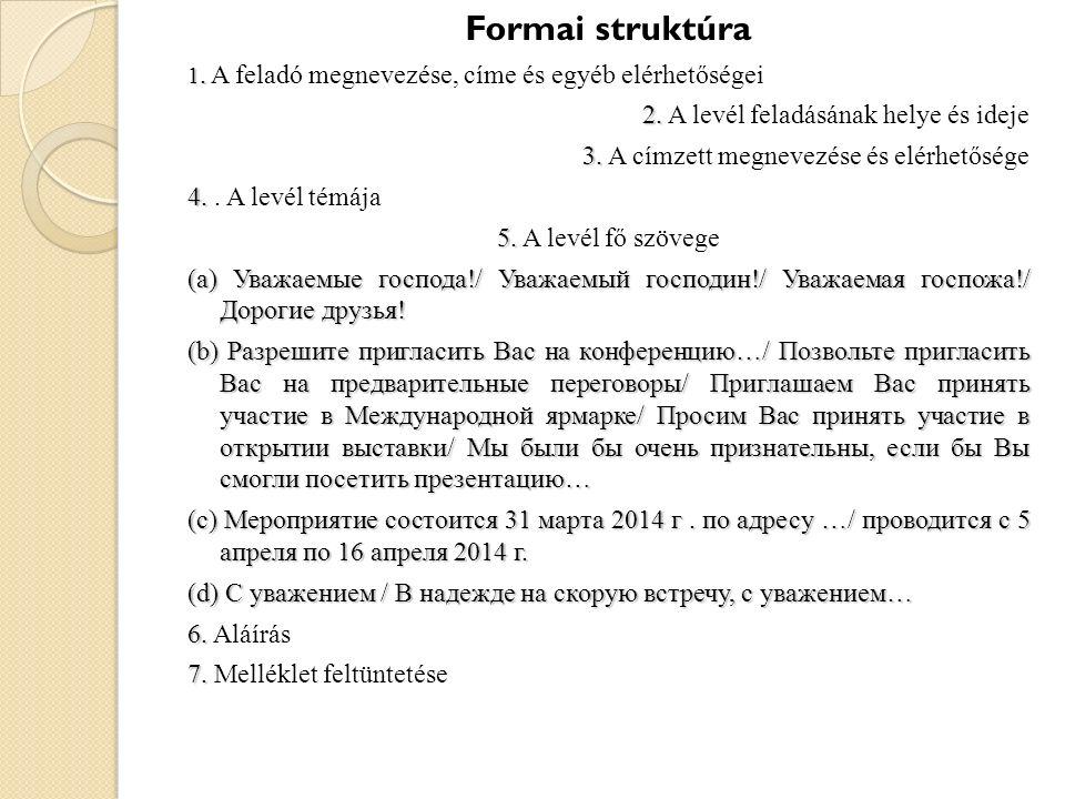 Formai struktúra 1. 1. A feladó megnevezése, címe és egyéb elérhetőségei 2. 2. A levél feladásának helye és ideje 3. 3. A címzett megnevezése és elérh