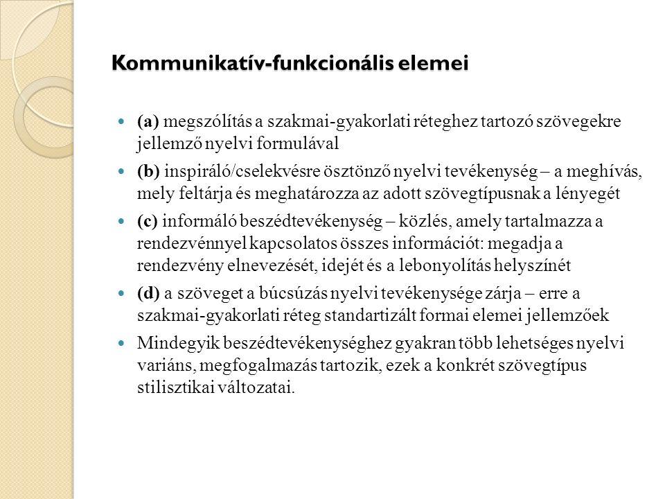 Kommunikatív-funkcionális elemei (а) megszólítás a szakmai-gyakorlati réteghez tartozó szövegekre jellemző nyelvi formulával (b) inspiráló/cselekvésre