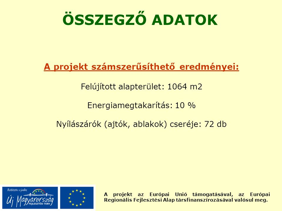 A projekt az Európai Unió támogatásával, az Európai Regionális Fejlesztési Alap társfinanszírozásával valósul meg. ÖSSZEGZŐ ADATOK A projekt számszerű