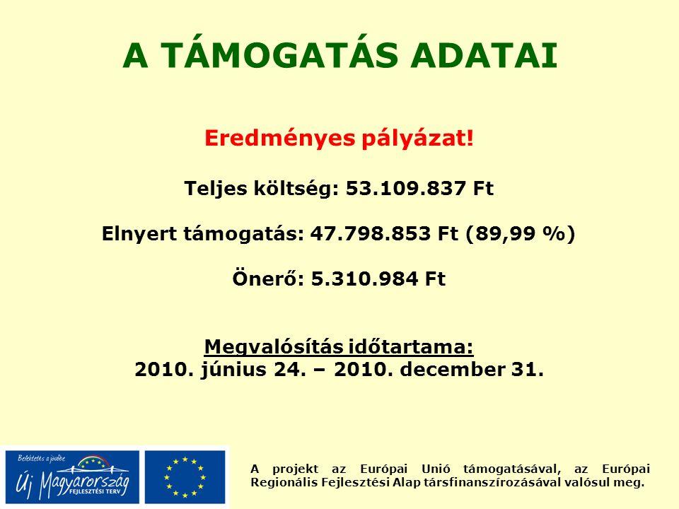 A projekt az Európai Unió támogatásával, az Európai Regionális Fejlesztési Alap társfinanszírozásával valósul meg. A TÁMOGATÁS ADATAI Eredményes pályá