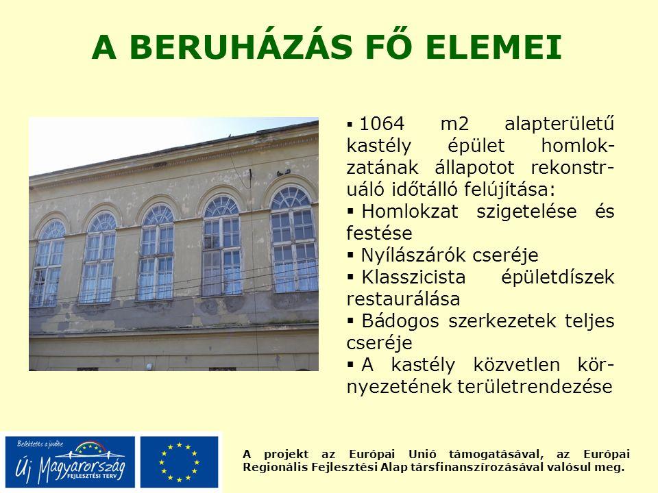 A projekt az Európai Unió támogatásával, az Európai Regionális Fejlesztési Alap társfinanszírozásával valósul meg. A BERUHÁZÁS FŐ ELEMEI  1064 m2 ala