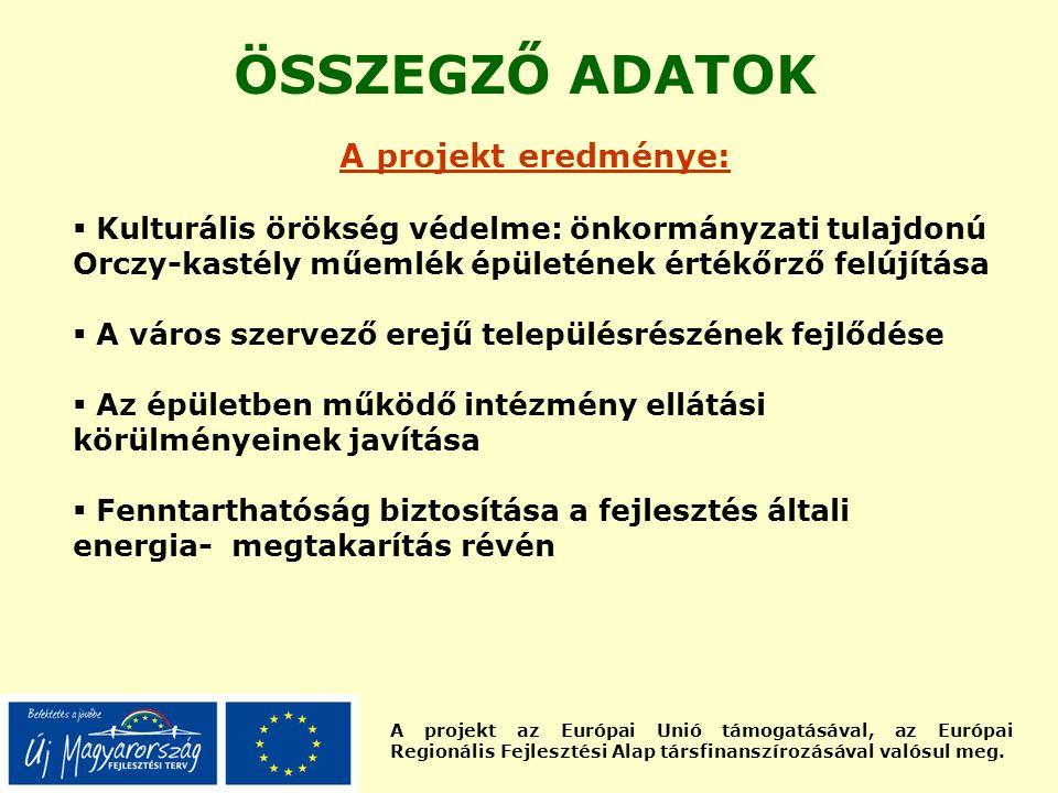 A projekt az Európai Unió támogatásával, az Európai Regionális Fejlesztési Alap társfinanszírozásával valósul meg. ÖSSZEGZŐ ADATOK A projekt eredménye