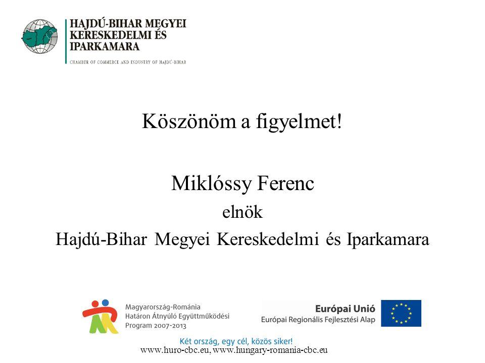 Köszönöm a figyelmet! Miklóssy Ferenc elnök Hajdú-Bihar Megyei Kereskedelmi és Iparkamara www.huro-cbc.eu, www.hungary-romania-cbc.eu