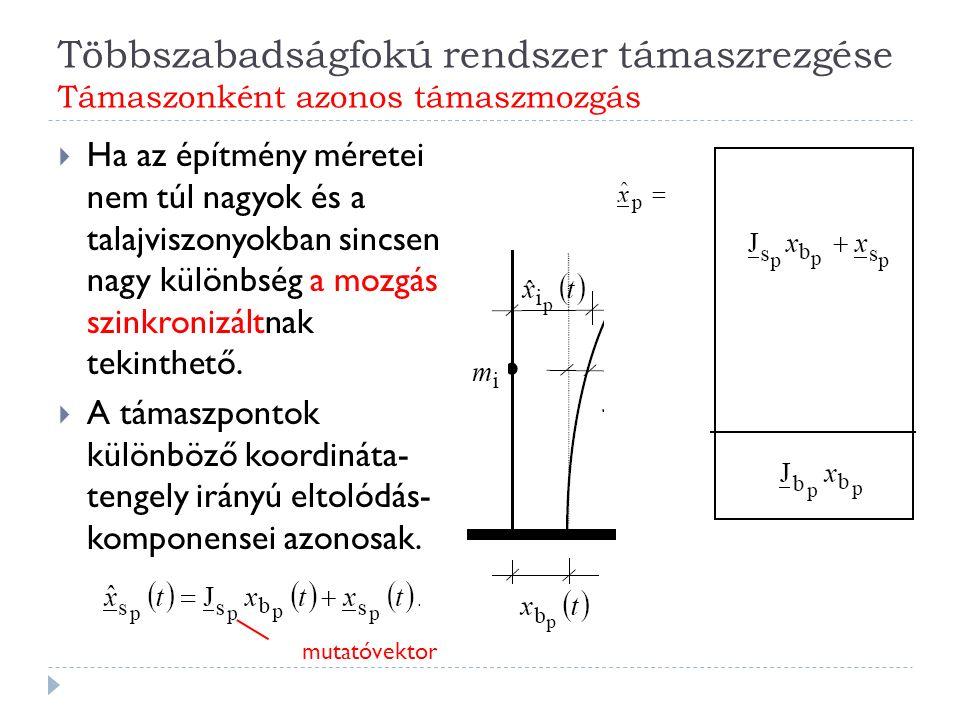 Többszabadságfokú rendszer támaszrezgése Támaszonként azonos támaszmozgás  Ha az építmény méretei nem túl nagyok és a talajviszonyokban sincsen nagy különbség a mozgás szinkronizáltnak tekinthető.