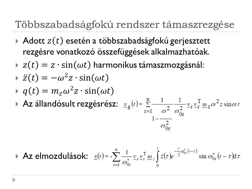 Többszabadságfokú rendszer támaszrezgése Támaszrezgés merev megtámasztásnál  s: ismeretlen csomóponti mozgások  b: ismert elmozdulások (lehet zérus is)  Particionálás: az egyenletrendszerben az ismert elmozdulások vektorát az ismeretlen elmozdulások vektora után helyezzük