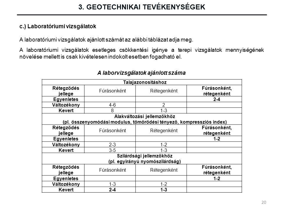 3. GEOTECHNIKAI TEVÉKENYSÉGEK c.) Laboratóriumi vizsgálatok A laboratóriumi vizsgálatok ajánlott számát az alábbi táblázat adja meg. A laboratóriumi v