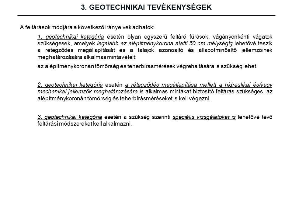 3. GEOTECHNIKAI TEVÉKENYSÉGEK A feltárások módjára a következő irányelvek adhatók: 1.