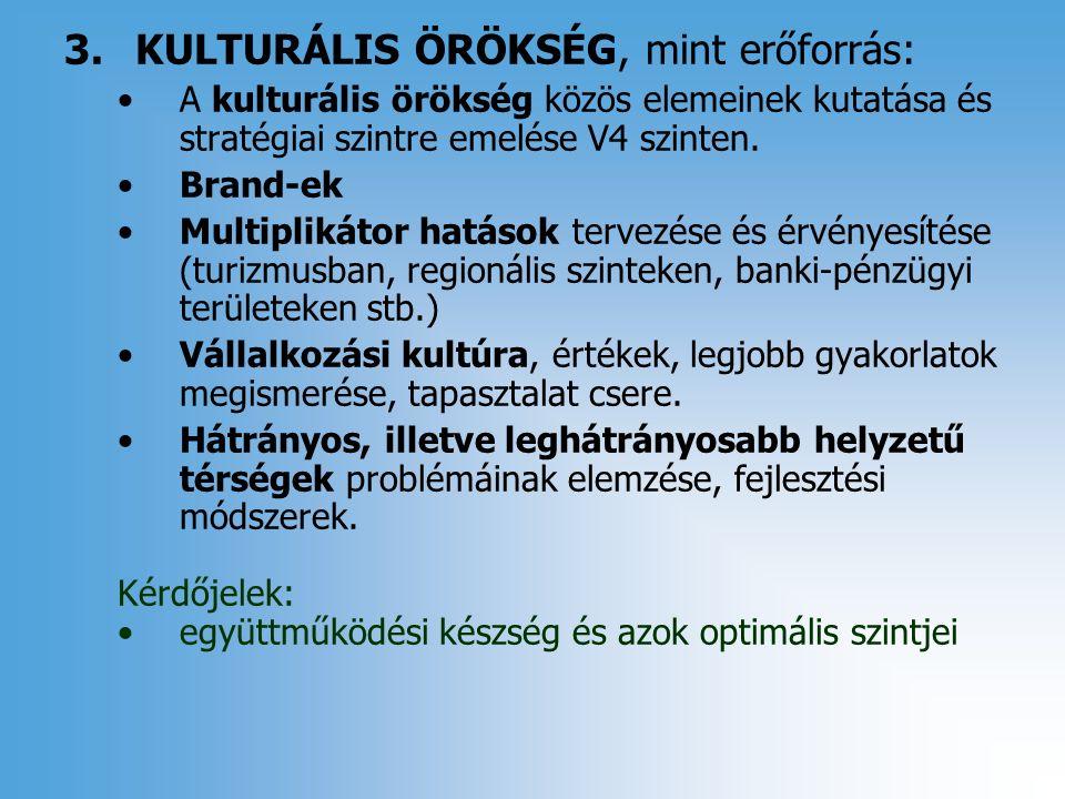 3.KULTURÁLIS ÖRÖKSÉG, mint erőforrás: A kulturális örökség közös elemeinek kutatása és stratégiai szintre emelése V4 szinten.