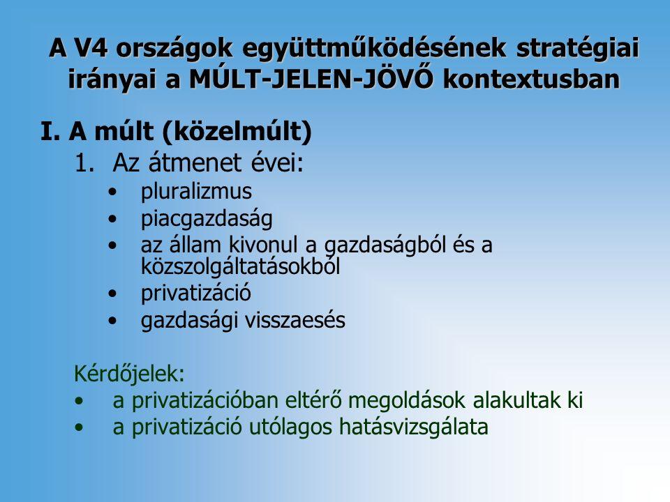 A V4 országok együttműködésének stratégiai irányai a MÚLT-JELEN-JÖVŐ kontextusban I.
