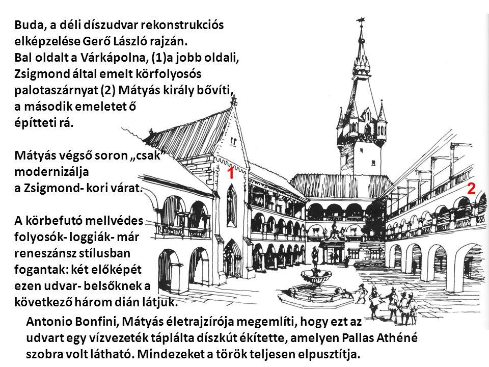 Buda, a déli díszudvar rekonstrukciós elképzelése Gerő László rajzán.