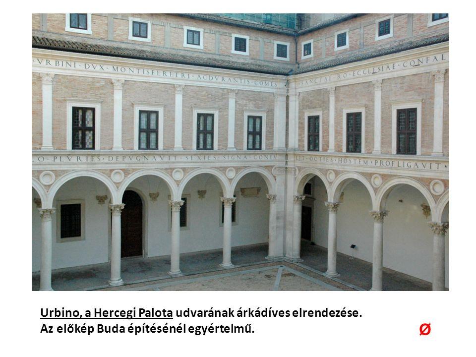 Urbino, a Hercegi Palota udvarának árkádíves elrendezése. Az előkép Buda építésénél egyértelmű. Ø