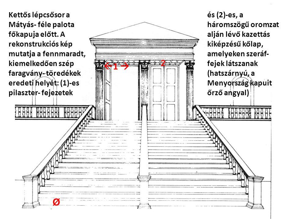 Kettős lépcsősor a Mátyás- féle palota főkapuja előtt.
