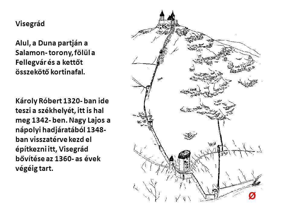 Visegrád Alul, a Duna partján a Salamon- torony, fölül a Fellegvár és a kettőt összekötő kortinafal.