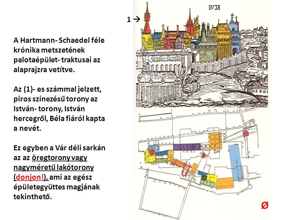 A Hartmann- Schaedel féle krónika metszetének palotaépület- traktusai az alaprajzra vetítve.