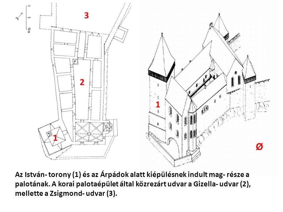 Az István- torony (1) és az Árpádok alatt kiépülésnek indult mag- része a palotának.