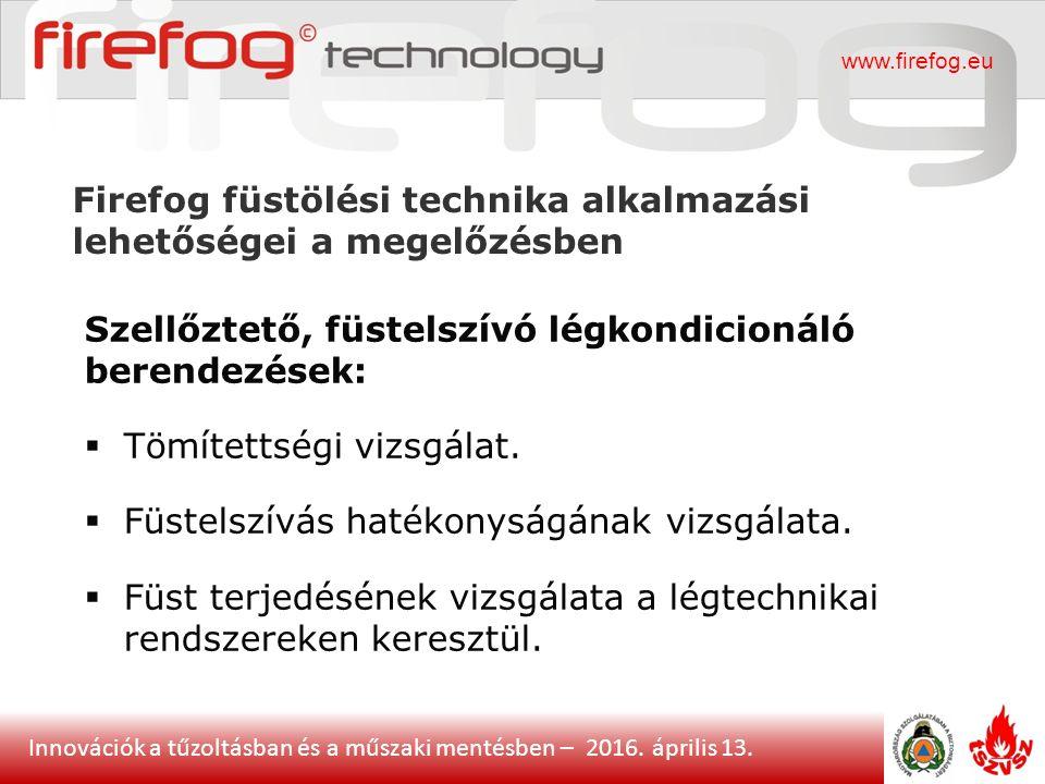 Innovációk a tűzoltásban és a műszaki mentésben – 2016. április 13. Firefog füstölési technika alkalmazási lehetőségei a megelőzésben www.firefog.eu S