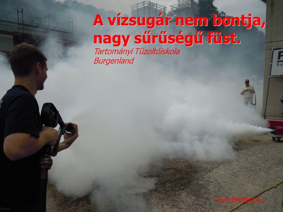 Innovációk a tűzoltásban és a műszaki mentésben – 2016. április 13. www. firefog.eu A vízsugár nem bontja, nagy sűrűségű füst. Tartományi Tűzoltóiskol