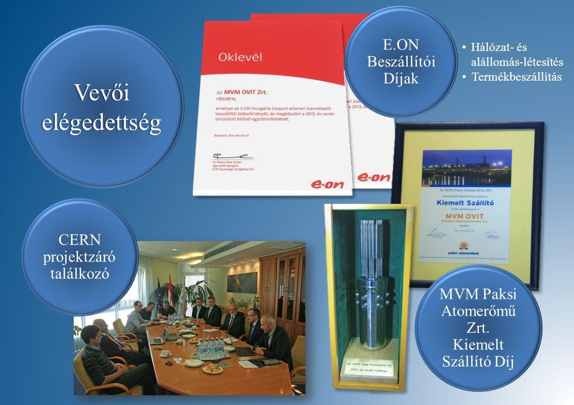 E.ON Beszállítói Díjak MVM Paksi Atomerőmű Zrt. Kiemelt Szállító Díj Vevői elégedettség CERN projektzáró találkozó Hálózat- és alállomás-létesítés Ter