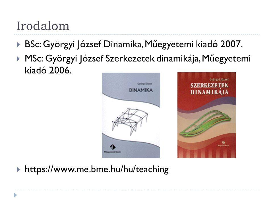 Irodalom  BSc: Györgyi József Dinamika, Műegyetemi kiadó 2007.  MSc: Györgyi József Szerkezetek dinamikája, Műegyetemi kiadó 2006.  https://www.me.